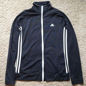 Adidas Black/White Climalite Track Jacket Small